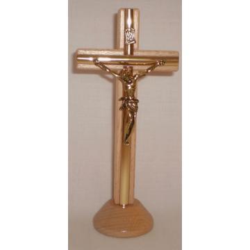 Cruce cu ornament,culoare lemn natur, 16 cm