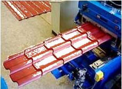Linie automata pt. fabricat tigla metalica din rulou de la Infomark Srl.