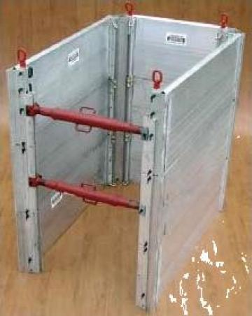 Cofraje din aluminiu pentru sprijinirea sapaturilor