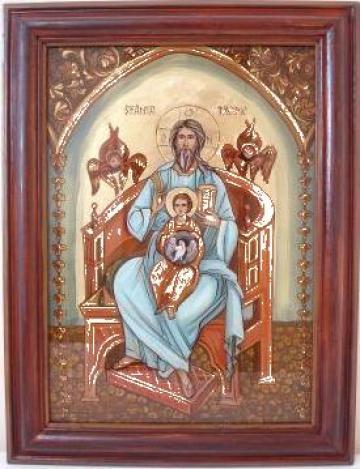 Icoana pictata in ulei pe sticla Sf. Treime de la PFA Anghelinei Alina Monica