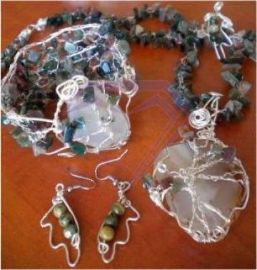 Set bijuterii- Colier, bratara, cercei si inel cu agate de la Digitech Sistem
