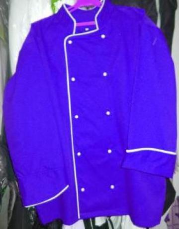 Costum pentru bucatari albastru cu insertie alba de la Johnny Srl.