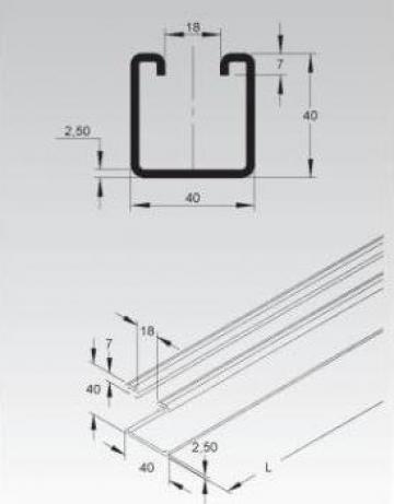 Profil C 40x40 de la Niedax Srl