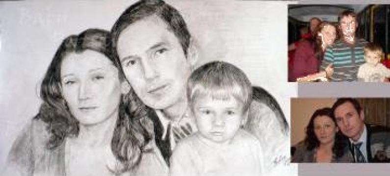 Portret de familie alb negru cu 3 membrii de la Baby Portraits - Portrete La Comanda Dupa Fotografie