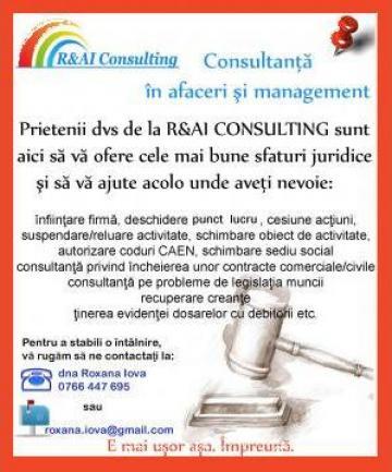 Autorizare cod CAEN din actul constitutiv de la R&AI Consulting