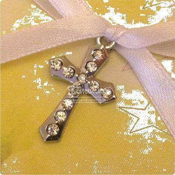 Marturie Cruciulita argintie cu strasuri de la Simonne
