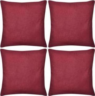 Huse de perna din bumbac, 50 x 50 cm, rosu burgund, 4 buc.