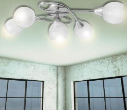 Lampa de plafon cu abajururi de sticla pentru 5 becuri E14