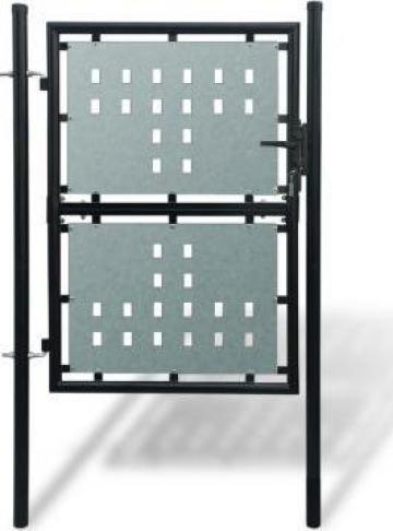 Poarta neagra pentru gard 100 x 225 cm de la Vidaxl