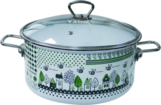 Oala emailata ruseasca Green Lief 5 litri 24cmcapac sticla de la Basarom Com