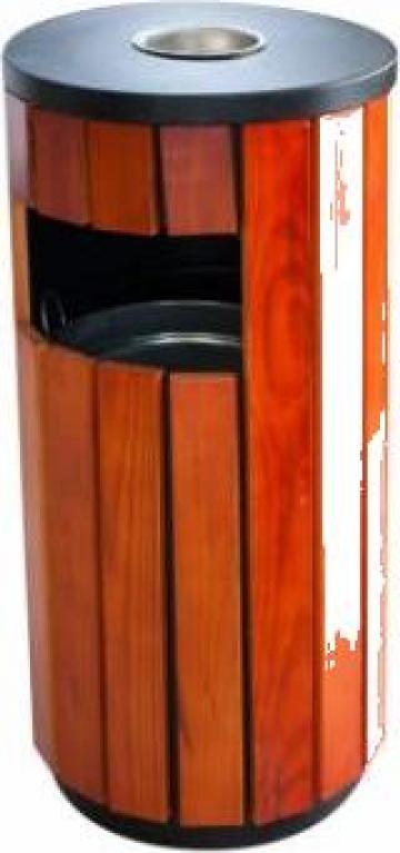 Scrumiera exterioara cu cos gunoi Icikala rotund lemn de la Basarom Com