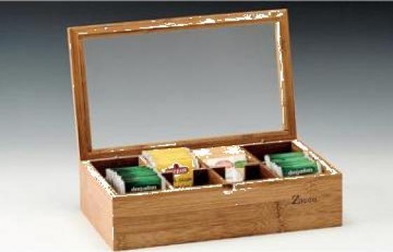 Cutie din lemn pentru pliculete ceai de la Basarom Com