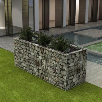 Jardiniera gabion din otel, 270 x 90 x 100 cm