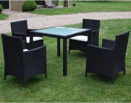 Set mobilier de exterior, 9 piese, poliratan, negru
