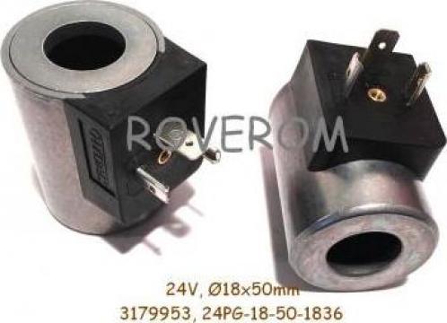 Bobina 24V, D18x50mm, conexiune electrica DIN (G) de la Roverom Srl