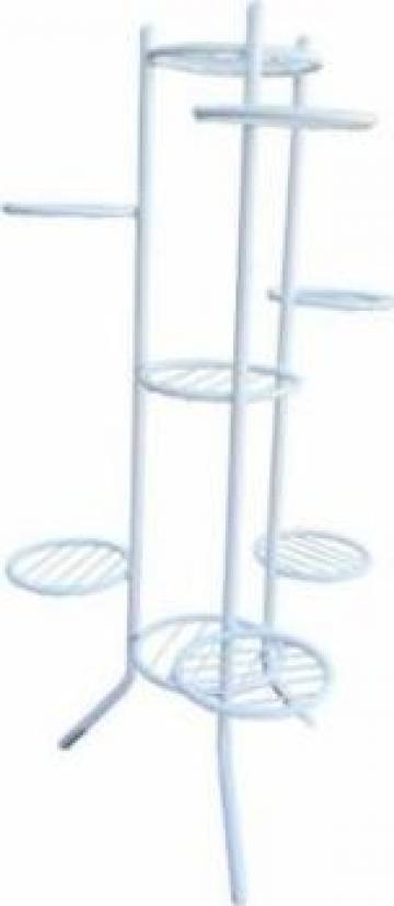 Suport metalic pentru 9 ghivece, alb de la Basarom Com