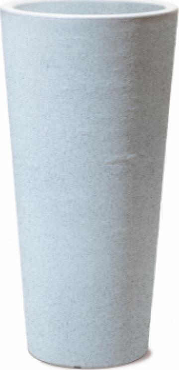 Ghiveci perete dublu Wave fibra granit alb 14,5litri de la Basarom Com
