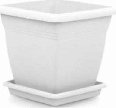 Ghiveci patrat Serinova pentru flori Vila 60x56,5x60cm alb