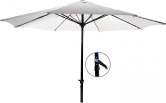 Umbrela soare 300cm culoare alba cu mecanism rabatare de la Basarom Com