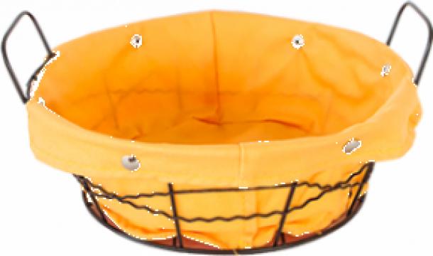 Cos rotund servire paine Raki, din metal panza galben 23x8cm de la Basarom Com
