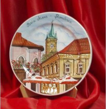 Platou ceramica pictata Baia Mare - Turnul lui Stefan