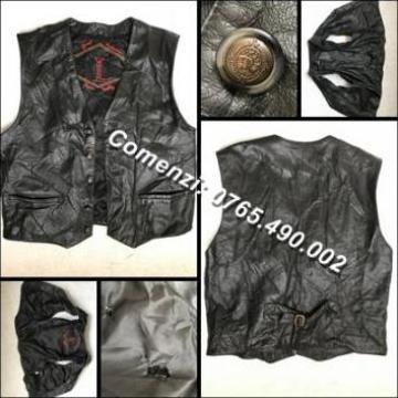 Vesta neagra barbati piele, buzunare moto biker chopper rock de la Cieaura