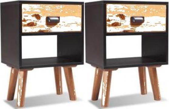 Noptiere din lemn de salcam 2 buc. 40x30x58 cm