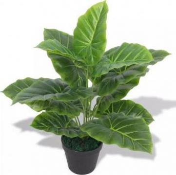 Planta artificiala Taro cu ghiveci, 45 cm, verde