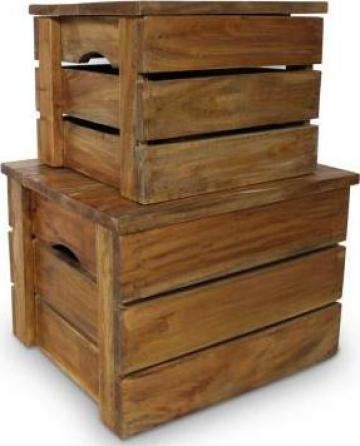 Set cutii de depozitare 2 bucati, lemn masiv reciclat de la Vidaxl