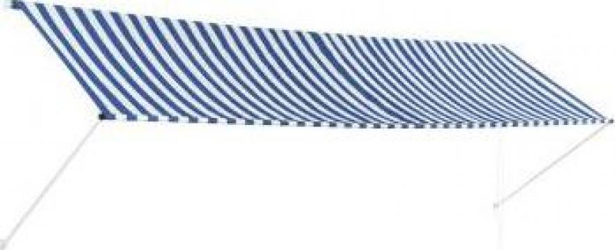 Copertina retractabila, albastru si alb, 400 x 150 cm