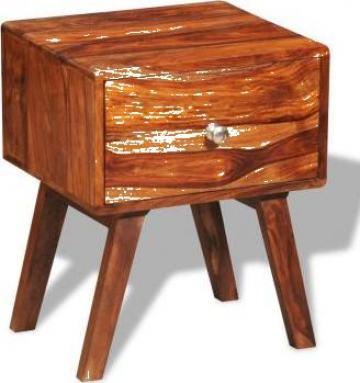 Noptiera cu 1 sertar, 55 cm, lemn masiv de sheesham de la Vidaxl