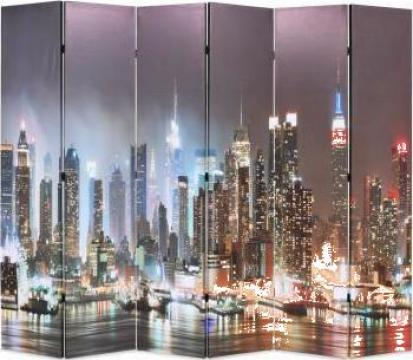 Paravan de camera pliabil 228x180 cm New York noaptea
