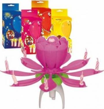 Lumanare aniversara muzicala pentru tort, Floare, 1 suport de la Adi Net Comp Srl