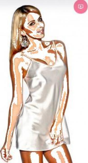Neglijeu dama alb, negru, rosu satin 2XL, 3XL, lenjerie lux de la Cieaura