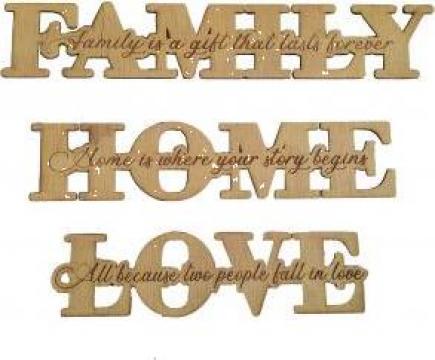 Set decoratiuni din lemn, 3 piese Home, Familly, Love