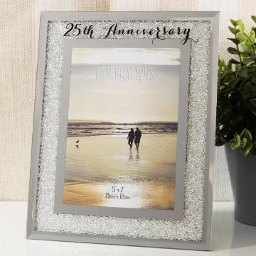 Rama foto cu bordura cristale, cadou nunta argint de la Dream-store.ro