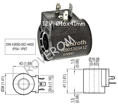 Bobina 12V, D16x41mm, electrovalva hidraulica