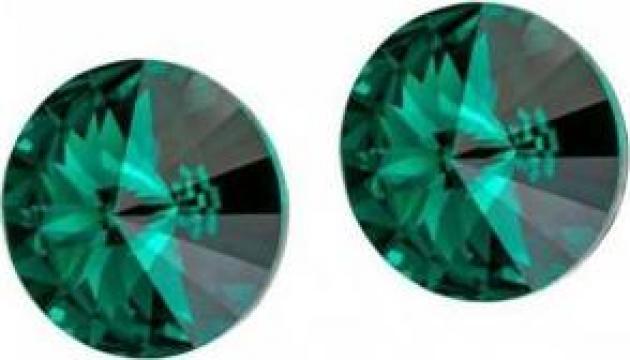 Cercei argint 925 si swarovski Crystal Emerald
