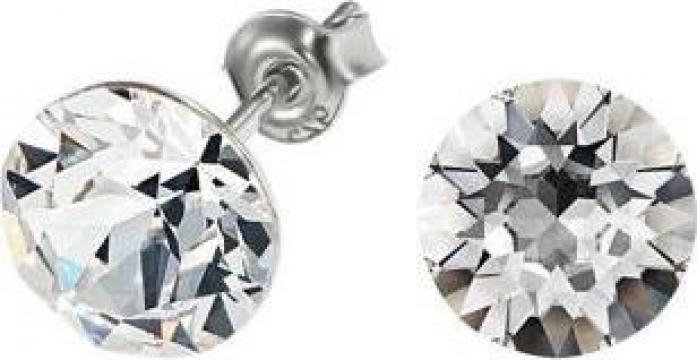 Cercei argint 925 si swarovski White Crystal