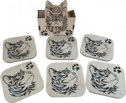 Set 6 coastere + suport, pisica, 9 cm