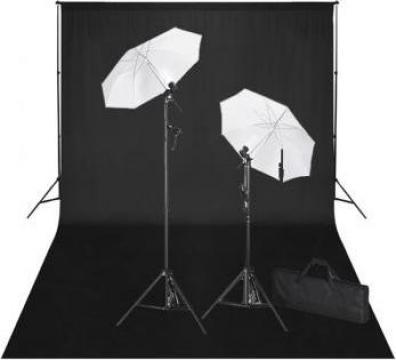 Kit studio foto, fundal negru, 600 x 300 & lumini