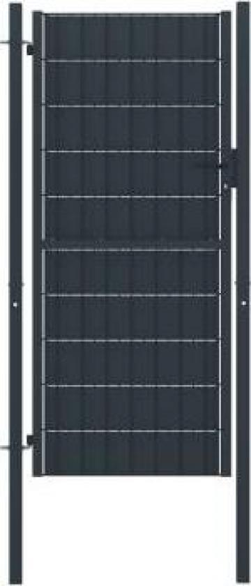 Poarta de gard, antracit, 100 x 124 cm, otel