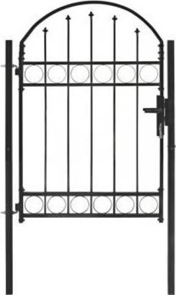 Poarta de gard cu arcada, negru, 100 x 125 cm, otel