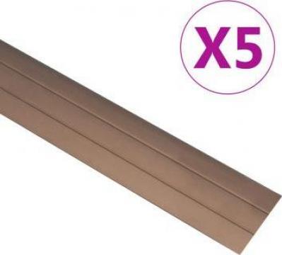 Profile de pardoseala, 5 buc., maro, 100 cm, aluminiu de la Vidaxl