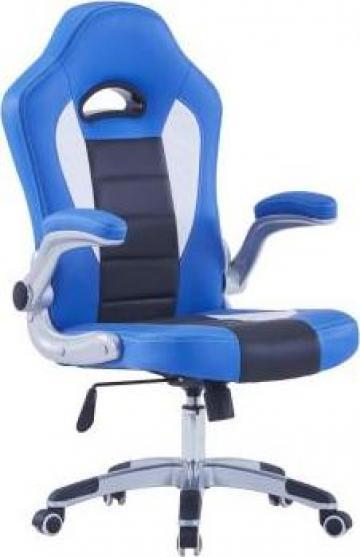 Scaun de gaming, albastru, piele ecologica