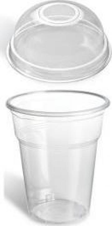 Pahare transparente din plastic 400ml+capac 100 buc/set de la Cristian Food Industry Srl.