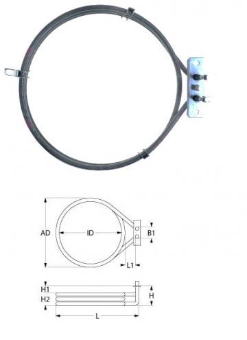Rezistenta electrica 3000W, 230V, DI 180mm, DE 194mm