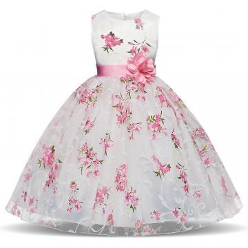 Rochita eleganta printesa, voal, alb cu imprimeu floral roz de la A&P Collections Online Srl-d