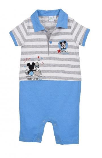 Salopeta bebe, Mickey Disney, bumbac, alb cu bleu