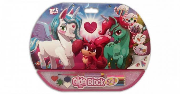 Set pentru desen 5 in 1 Gigablock Unicorn